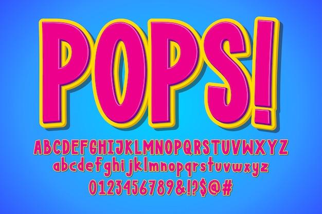 Desenho de pop art, alfabeto retrô dos desenhos animados