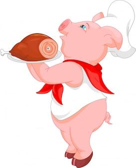 Desenho de porco bonito chef