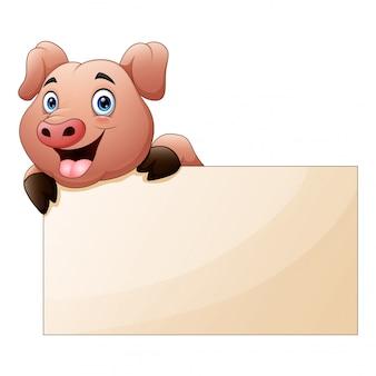 Desenho de porco bonito com placa em branco