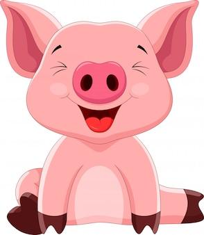 Desenho de porco feliz