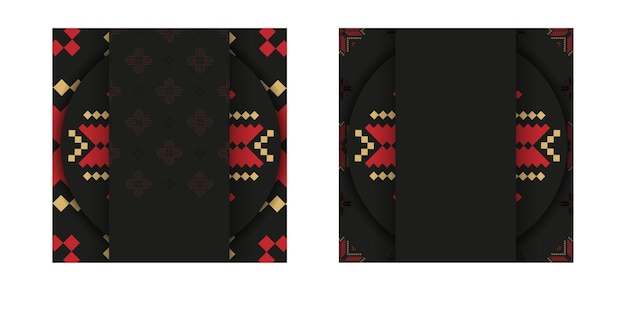 Desenho de postal em preto com enfeite eslavo. cartão de convite de vetor com lugar para o seu texto e padrões vintage.