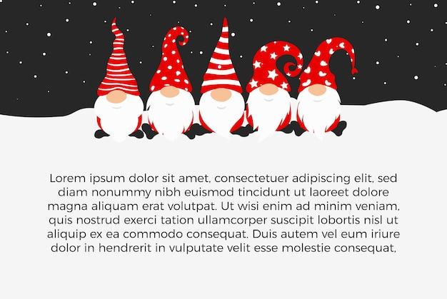 Desenho de pôster de feliz ano novo com gnomos personagens de natal para decoração de festas de natal.