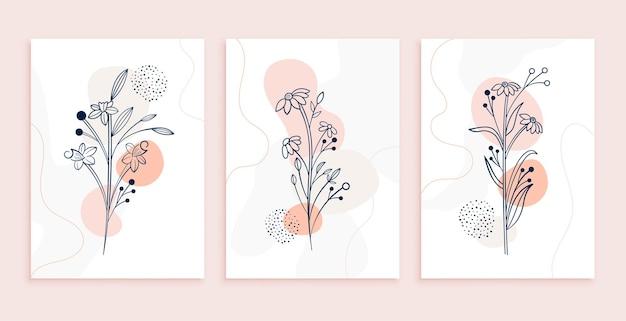 Desenho de pôster de flores e folhas de arte de linhas mínimas