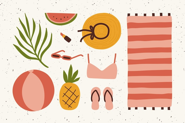 Desenho de praia desenhado à mão de verão doodle fundo de elementos fofos