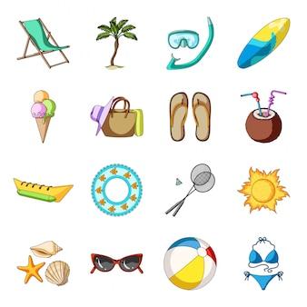 Desenho de praia verão definir ícone. desenhos animados isolado viagens mar definir ícone. praia de verão.