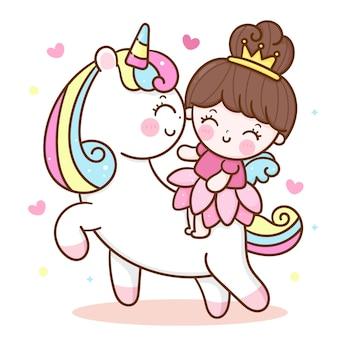 Desenho de princesa anjo montando animal fofo unicórnio kawaii
