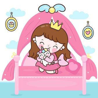 Desenho de princesa fofa abraçando boneca unicórnio no quarto animal kawaii