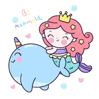 Desenho de princesa sereia bonito nadando com animal narwhal kawaii