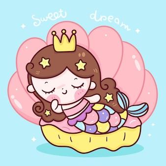 Desenho de princesa sereia dormindo sobre concha de animal kawaii