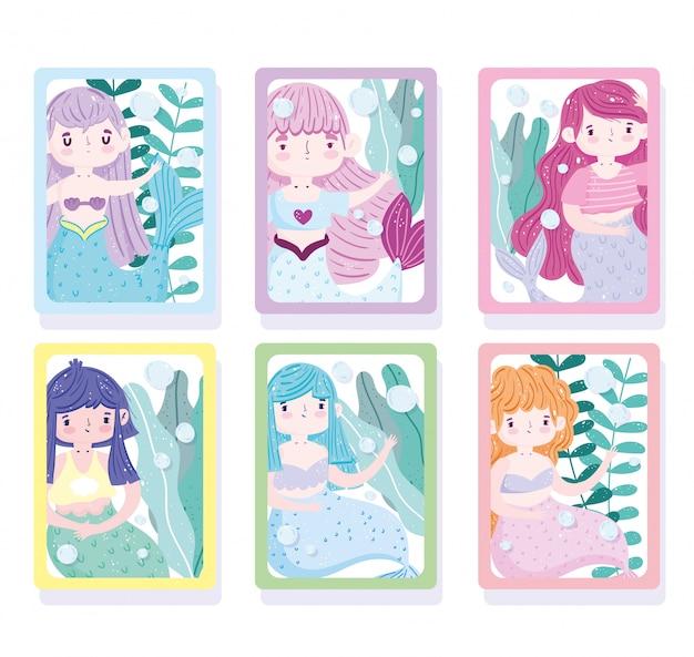 Desenho de princesa sereia fofa com cabelo colorido sob o mar