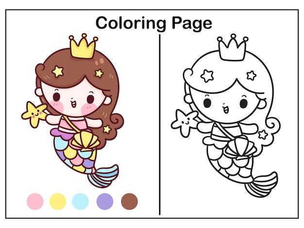 Desenho de princesa sereia para colorir com estrela de peixe kawaii ilustração