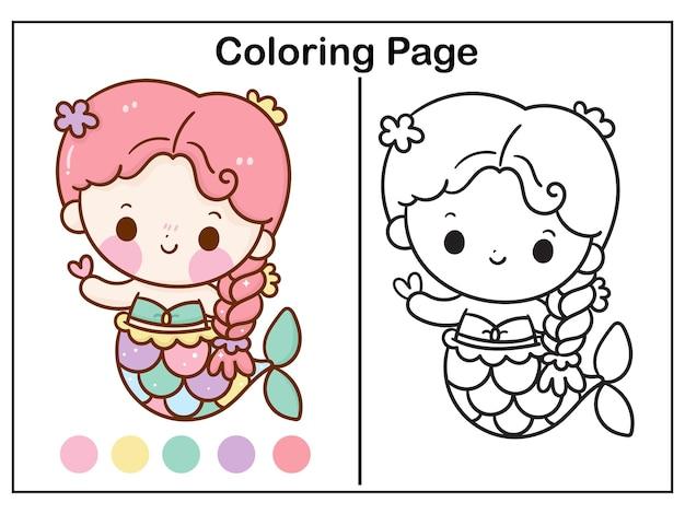 Desenho de princesa sereia para colorir com ilustração de coração kawaii