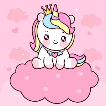 Desenho de princesa unicórnio fofo sentado em animal kawaii da nuvem