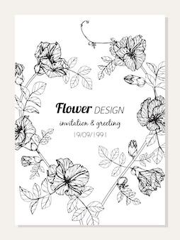 Desenho de quadro de flor de ervilha borboleta