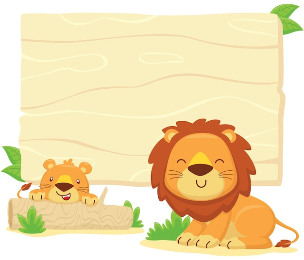 Desenho de quadro vazio em branco com leão engraçado e seu filhote escondido no toco de árvore