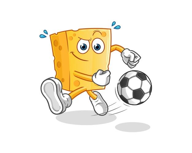 Desenho de queijo chutando a bola. mascote dos desenhos animados