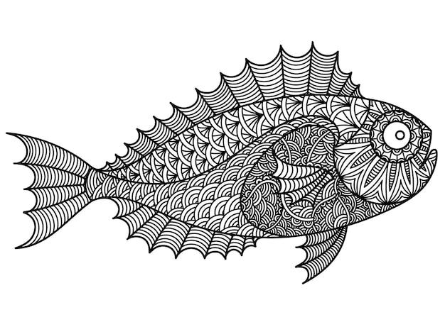 Desenho de rabisco de linhas limpas de peixes para tatuagem, gráfico de camiseta e livro de colorir adulto