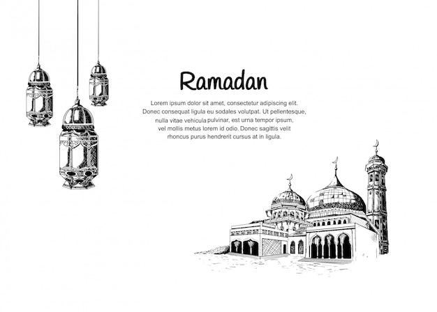 Desenho de ramadã com lanterna e mesquita de suspensão