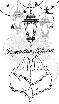 Desenho de ramadan de desenho de mão