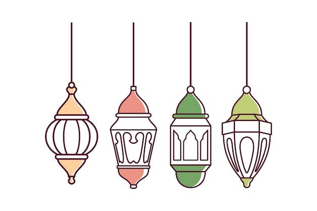 Desenho de ramadan lantern symbol vector com contorno elegante em fundo branco