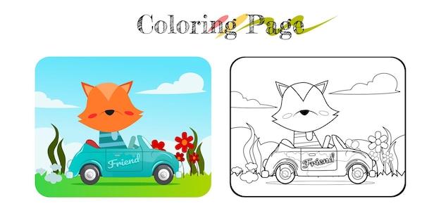 Desenho de raposa engraçada em carro azul com livro para colorir de fundo de natureza ou página para múltiplos propósitos