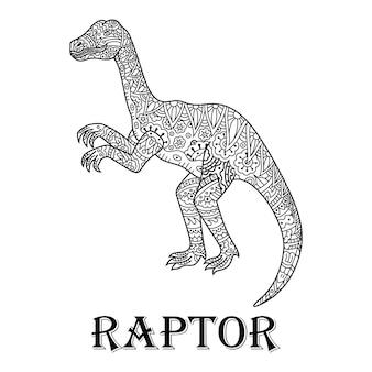 Desenho de raptor em estilo zentangle