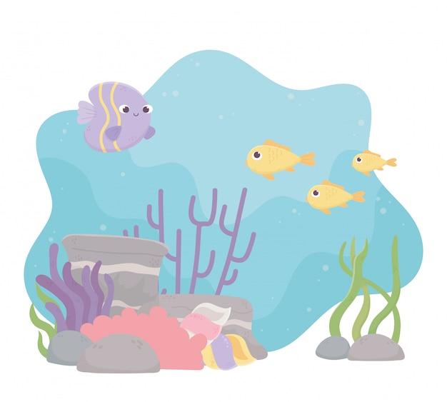 Desenho de recife de coral de vida peixes no fundo do mar