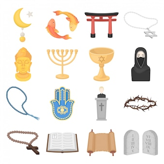 Desenho de religião definir ícone