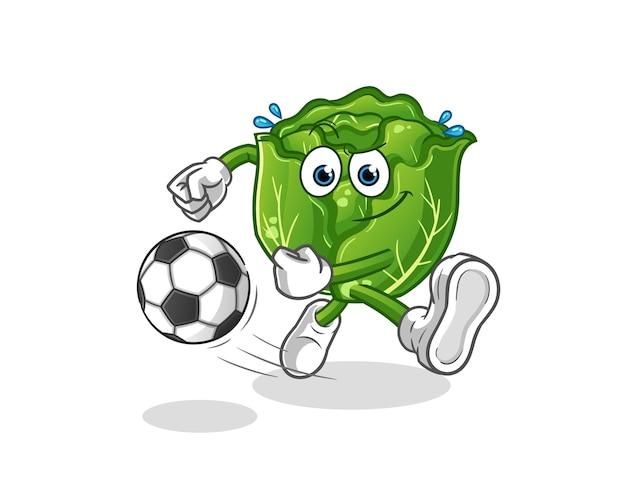 Desenho de repolho chutando a bola