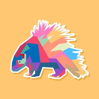 Desenho de retrato de arte pop ouriço colorido