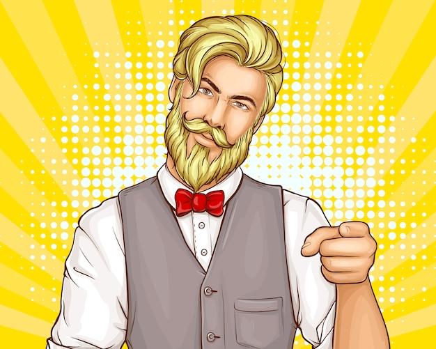 Desenho de retrato de homem atraente hipster