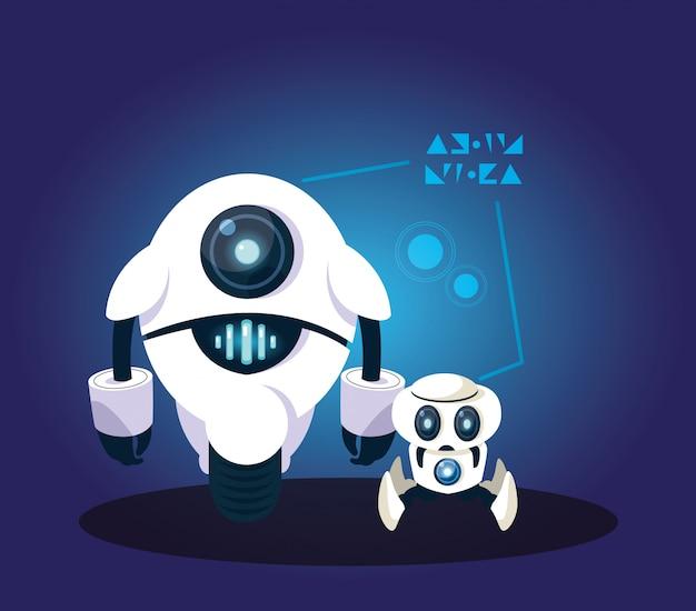 Desenho de robô de tecnologia sobre azul