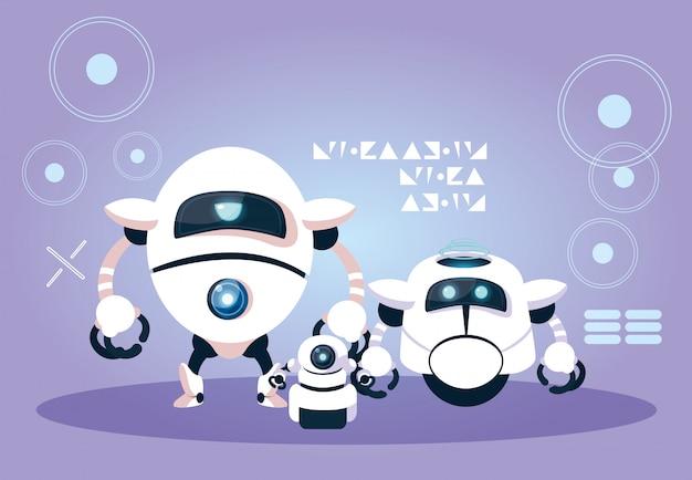 Desenho de robô de tecnologia sobre roxo