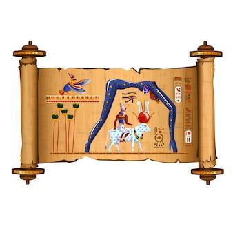 Desenho de rolagem de papiro do egito antigo