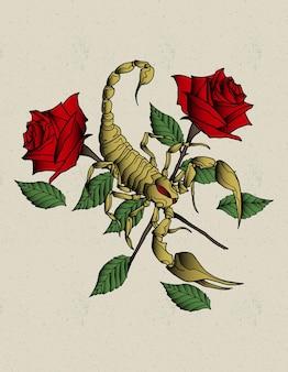 Desenho de rosas escorpião