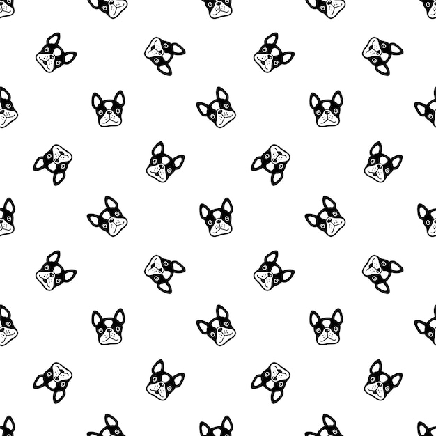 Desenho de rosto de buldogue francês de padrão sem emenda de cachorro