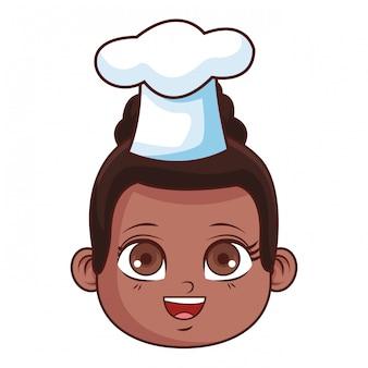 Desenho de rosto de menina bonito chef