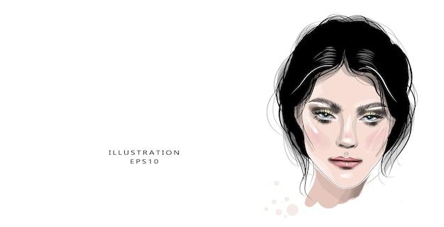 Desenho de rosto de mulher jovem e bonita desenhado à mão.