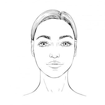 Desenho de rosto de mulher jovem. face frontal. esboço mão ewn ilustração