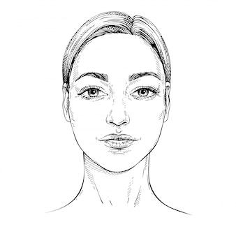 Desenho de rosto de mulher jovem. face frontal. estrutura de tópicos mão ilustrações desenhadas