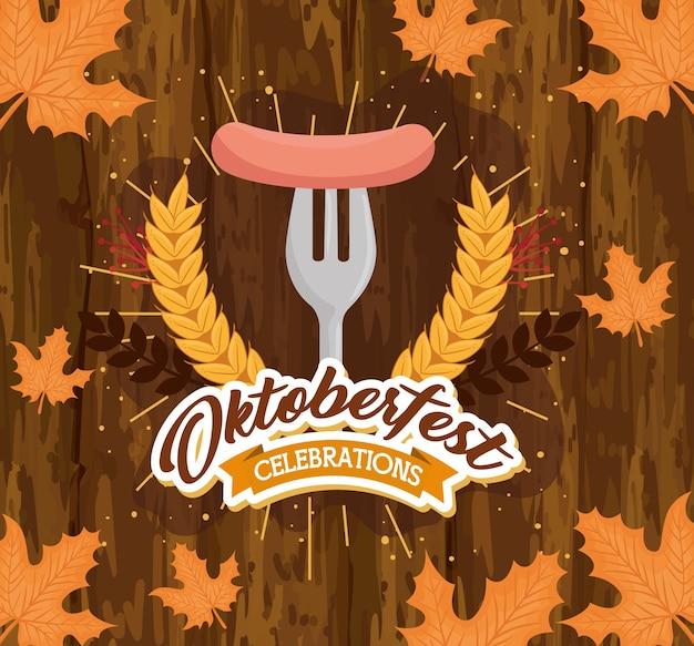 Desenho de salsicha no garfo, festival oktoberfest da alemanha e tema de celebração