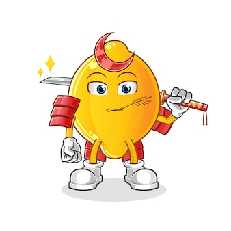 Desenho de samurai de limão. mascote dos desenhos animados