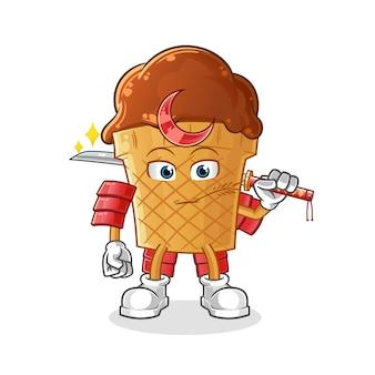 Desenho de samurai de sorvete de chocolate.