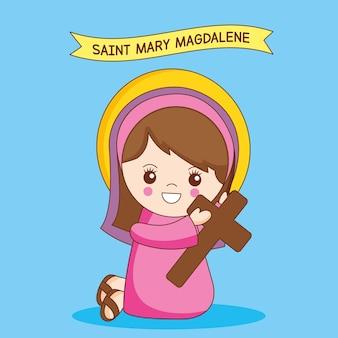 Desenho de santa maria madalena com uma cruz nas mãos