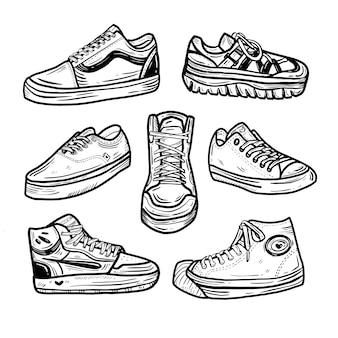 Desenho de sapatilha doodle adesivo coleção definida