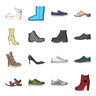 Desenho de sapato da moda definir ícone. loja de calçados isolado cartoon conjunto ícone. sapato da moda.