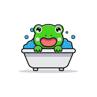 Desenho de sapo fofo na banheira