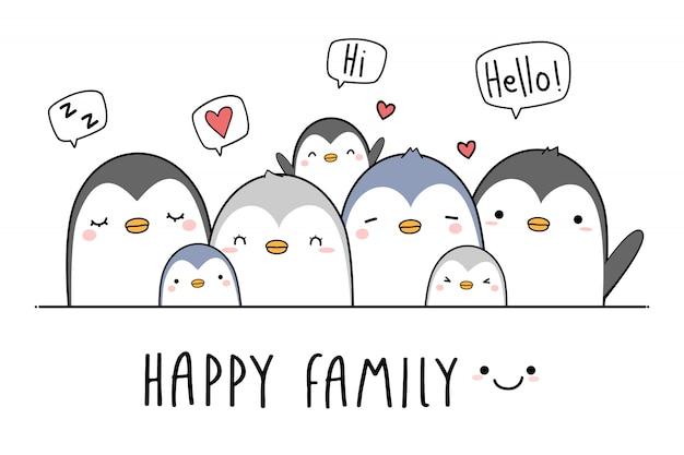 Desenho de saudação de família pinguim bonitinho