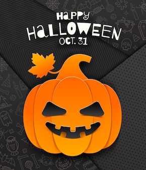 Desenho de saudação de halloween com abóbora