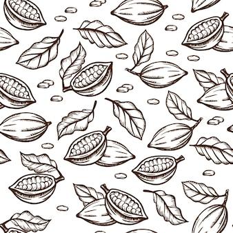 Desenho de sementes e folhas de esboço de cacau na cor marrom sobre fundo branco
